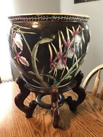 """Vintage Chinese porcelain koi fish bowl planter W/ Stand 10""""h 12""""w ,17"""" W/stand"""
