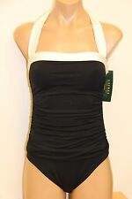 New Ralph Lauren Swimsuit Bikini 1 piece Size 6 White Black
