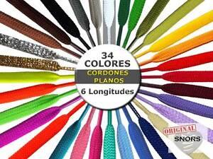 CORDONES ZAPATILLAS de COLORES PLANOS - 34 Colores - 6 Longitudes - 2 Anchos