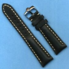 GENUINE OMEGA STEEL BUCKLE AND 20mm GENUINE BLACK LEATHER VERY PADDED BAND STRAP