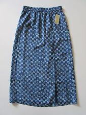 NWT MICHAEL by Michael Kors Lakheri Leaf Heritage Blue Slit Maxi Skirt S $99.50
