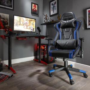 X Rocker Bravo Office PC Gaming Chair Ergonomic Adjustable Support Cushions Blue