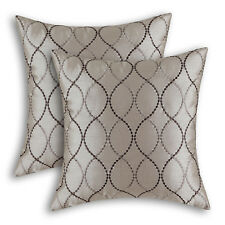 2Pcs Taupe Cushion Cover Pillow Shell Waves Lines Embroidered Sofa Decor 45x45cm