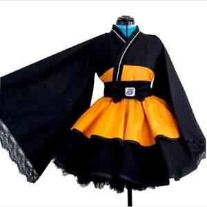 Naruto Shippuden Uzumaki Lolita Kimono Cosplay Costume Set