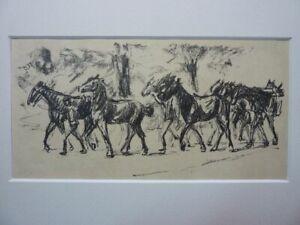 """MAX LIEBERMANN - Original Lithographie 1915 """"Geführte Pferde"""