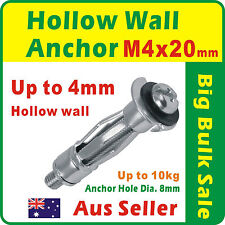 100 x M4 Hollow Wall Anchor Zinc Plated Dia. 8mm Suit Up to 4mm Plasterboard 405