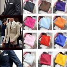 Wedding Suit Party Pocket Square Mens Satin Solid Plain Color Handkerchief Hanky