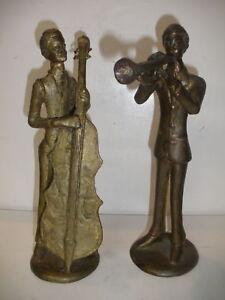 VINTAGE BURKINA FASO AFRICAN BRONZE MUSICIANS SCULPTURE