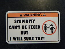 Stupidity Tool Box Warning Sticker - Gold - Must Have!! snapon mac socket