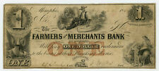1854 $1 The Farmers and Merchants Bank of Memphis, TENNESSEE Note