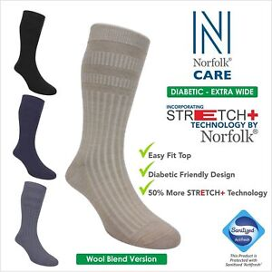 2 x Norfolk Wool Blend Unisex Diabetic Socks, Extra-Wide Soft Top, Edema - Oskar