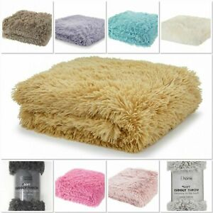 Catherine Lansfield Cuddly Shaggy Faux Fur Warm Throw/Cushion Covers 9 colours