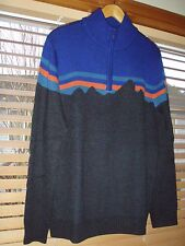 Patagonia Fitz Roy Mountain Design Men's XL Merino 1/4 Zip Sweater