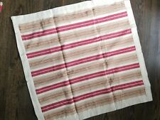 POTTERY BARN RED TAN CREAM STRIPE Euro PILLOW SHAM LINEN COTTON