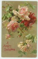 C. Klein, Flowers, Roses, Happy Birthday, Nister no.67 Early Art Postcard, B926