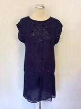 WHISTLES BLUE & BLACK BEAD & SEQUIN EMBELISHED SHIFT DRESS SIZE 10