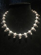 LOREE RODKIN One Of A Kind Sterling Silver Skull Skulls galore Necklace!