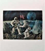 Vintage 1960's 3 D Vari-Vue Postcard Apollo 11 NASA Astronauts On The Moon