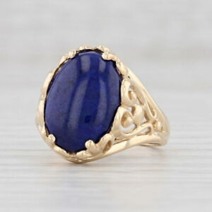 Kabana Lapis Lazuli Floral Ring 14k Yellow Gold Size 6 Blue Stone Solitaire