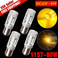 4x Amber Yellow 1157 BY15D  High Power 80W Turn Signal Side Marker LED Light US