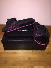 Chanel Brand New Authentic Pink And Black Tweed Camellia Mules/Sandals sz.40