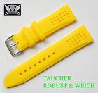 Silicona Pulsera de Reloj cavadini Calidad Superior en Bonito Amarillo 24mm
