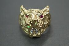10K Solid Yellow Gold Dia-Cut Tiger Head Red Eyes With CZ Ring. Size 10.5