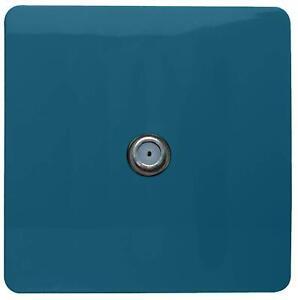 Trendi 1 Gang Modern Glossy Screwless Television Satellite Socket Ocean Blue