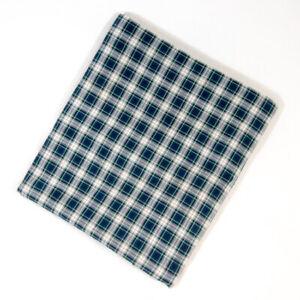 "Ralph Lauren Andover Tartan Plaid King Flat Sheet 108""x100"" White Blue EUC"