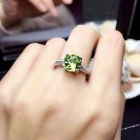 1.5ct Round Cut Green Peridot Engagement Ring Diamond Accent 14k White Gold Over