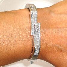 Stunning 2ct VS1/G Princess Invisible Diamonds 14k W Gold Bangle Bracelet