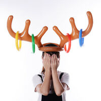Inflatable Reindeer Antler Hat Ring Toss Game Xmas Holiday Party Toys Moose Gift