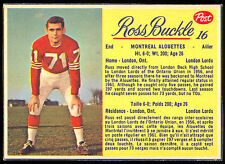 1963 POST CFL FOOTBALL #16 ROSS BUCKLE NM  MONTREAL ALOUETTES LONDON LORD