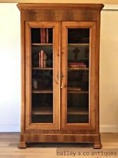 Antique French Bookcase Walnut Louis Philippe Style Rare c1880 - QN157