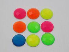 100 Mixed Neon Color Flatback Acrylic Round Rhinestone Gems 12mm No Hole