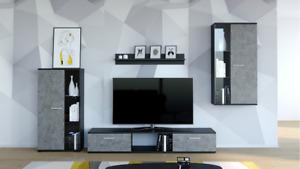 Furniture Living Room Set TV Unit Shelf Cabinet BLACK GREY Wall Unit set Led