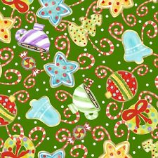 Jolly Holiday 2 Ornaments Green Quilt Fabric - 1 Yard