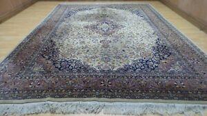 "Large PERSAIN design CARPET RUG Hand Made oriental WOOL Keshan 11FT 2"" x 8FT 1"""