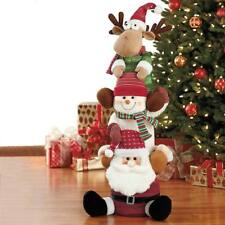 Plush 3.3ft 101.6cm Stacked Christmas Snowman, Santa and Reindeer Xmas BNIB