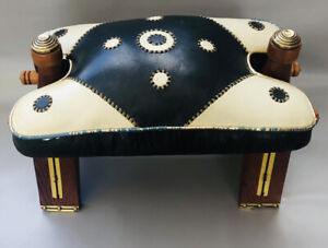 Vintage 1970's Camel Style Wooden Footstool with Leather Seat/FootStool