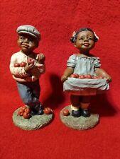 1989 All God's Children M. Holcombe Orig Figurines Adam #195 & Tara #186 Apples!