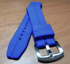"22mm BLUE Silicone Rubber Sport Watch Band ""Curved End"" Premium Buckle WC1281"