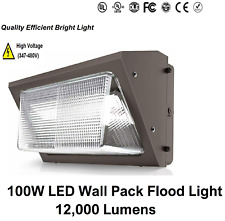 100w Led Wall Pack Ac 347 480v 5000k Ip65 12000 Lumens Glass Lens Outdoor