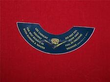 1952 - 1962 Cadillac Windshield Washer Bottle Lid Decal
