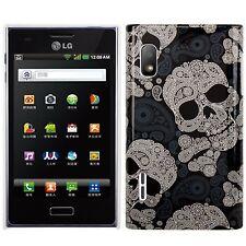 HardCase Backcover für LG E610 / E612 Optimus L5 Totenköpfe schwarz grau