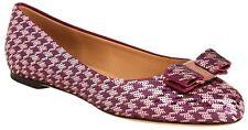 Salvatore Ferragamo Varina Houndstooth Sequin Bow Ballet Flat Shoe 10B NIB