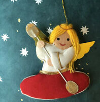 Vtg KAYAKING ANGEL Christmas Ornament Cardboard Cloth Yarn CUTE Kayak Outdoors