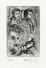 Angelo Arrigoni Italy, Original Art Print Etching Ex libris, Mozart Piano Music