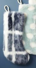 Anthropologie So Soft Large Faux Fur Gray Patterned Christmas Stocking NEW
