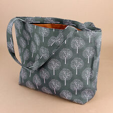 Large Tree Print Grey Tote Zip Gusset Fabric Beach Nappy Shopping Shoulder Bag